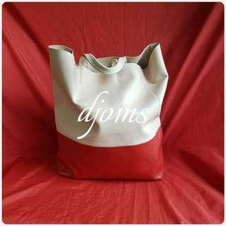 ✔Celine Cabas Beige Red Tote Bag
