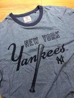 🚚 二手出清*男 洋基new york 灰藍短袖上衣 XL