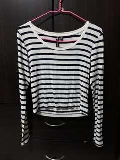 🚚 Nautical Striped Long Sleeve Crop Top