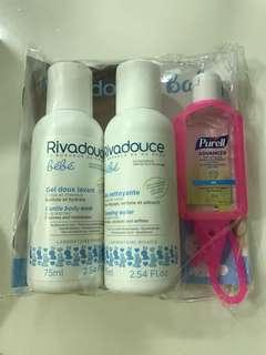 Rivadouce grntle body wash and cleansing water