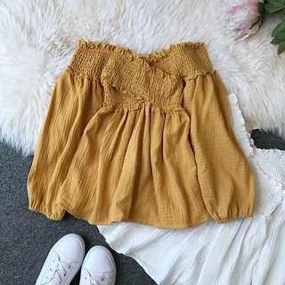 Yellow babydoll offshoulder top
