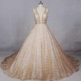 Gold shimmery long dress