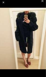 REDUCED fox fur and wool coat
