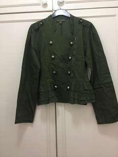 Plains and Prints Army Green with ruffle details jacket