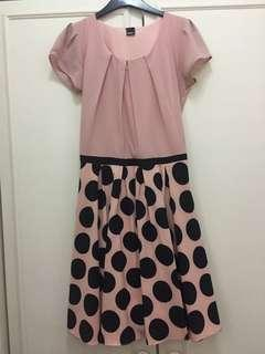 Old rose with black polka dots dress