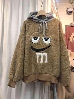 韓國空運來台 M&M's羔羊毛連帽大學T