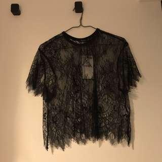 Bershka Black Lace Top size S and XS
