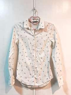 Zara White Long Sleeve Polo