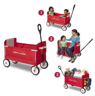 (PO) BN Radio Flyer 3-in-1 EZ Folding Wagon for Kids and Toys Cargo, Base Without Canopy