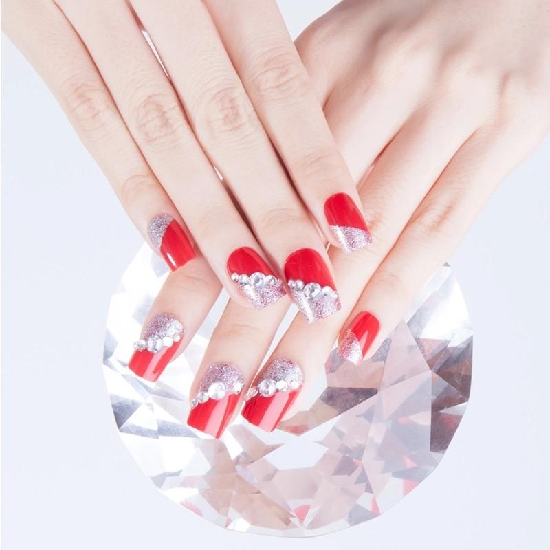 24pcs Set Pretty Red Rhinestone Bride Nail Art Tips Pre Design
