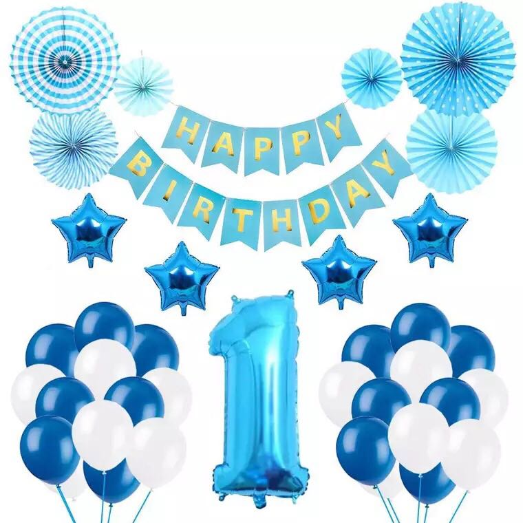 32 Pieces Baby Boy 1 2 3 Year Old Balloons Happy Birthday Banner Set