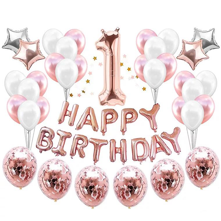 36 Pieces Pink Rose Gold Girl 1 2 3 Years Old Birthday Party Balloons Banner Set Happy Design Craft Others On Carousell