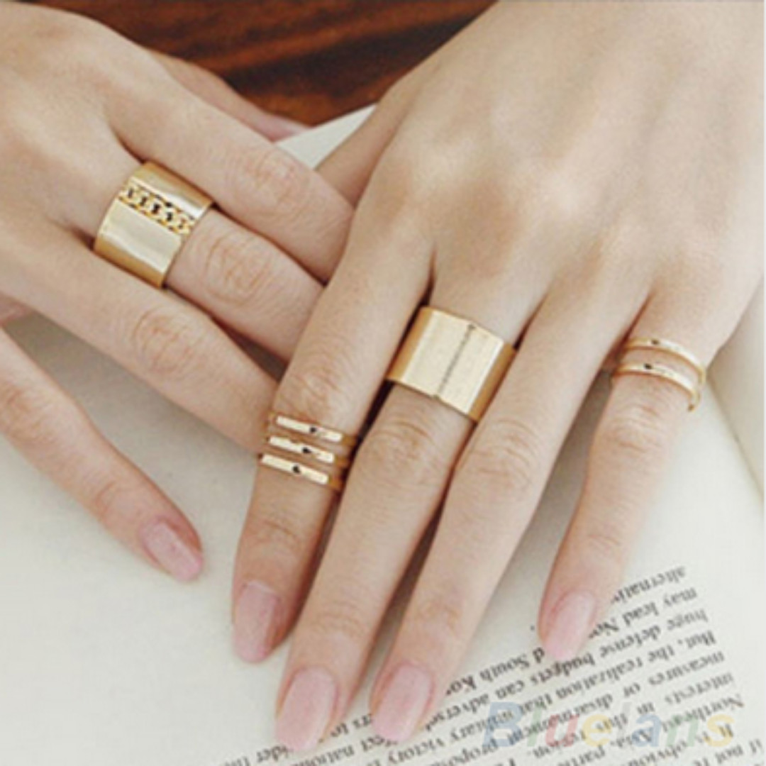 3 Pcs/ set et New Fashion Top Of Finger Over The Midi Tip Finger Above The  Knuckle Open Ring