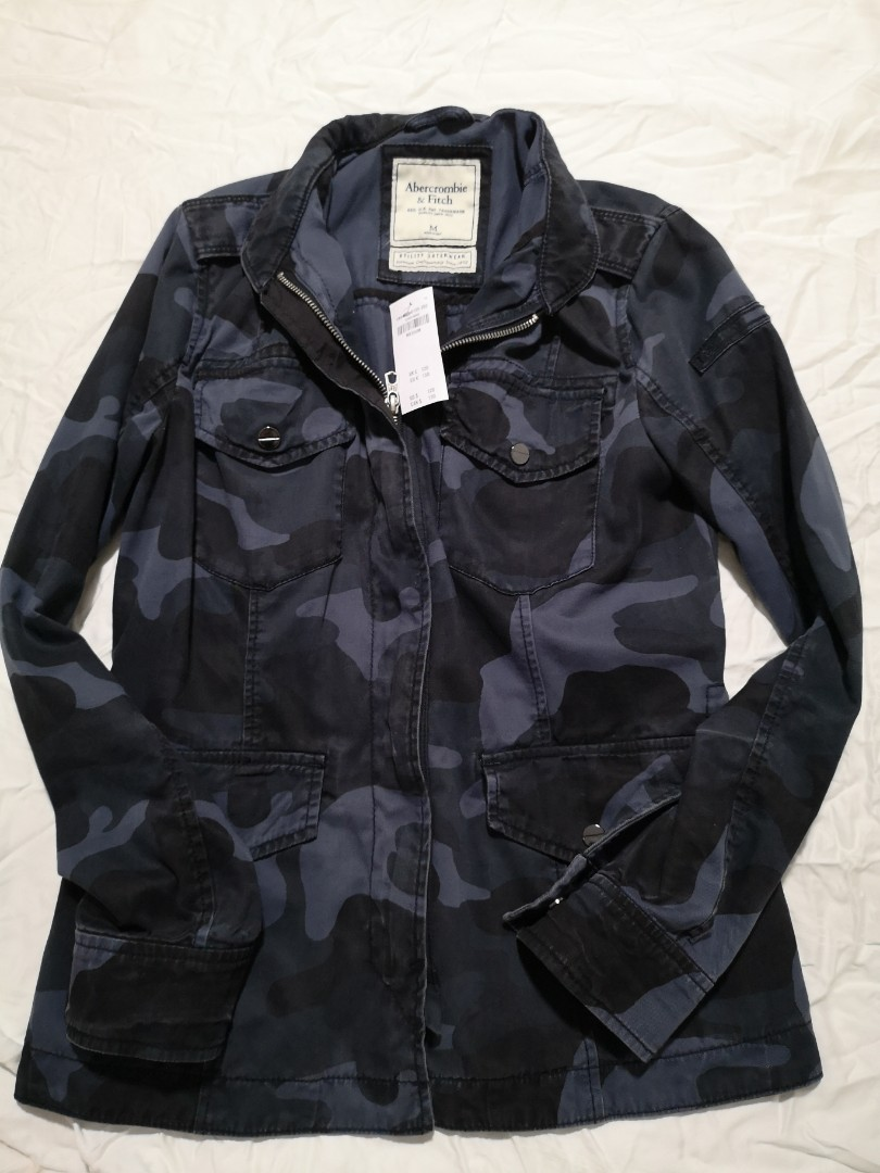 c6085373db336 Abercrombie & Fitch Navy Camo Jacket - New, Women's Fashion, Clothes ...
