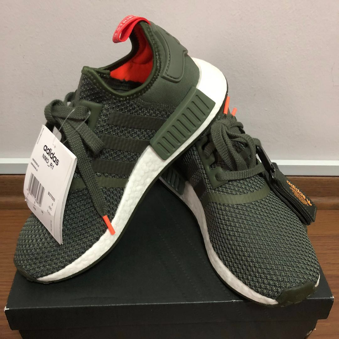 585eecca084 Adidas NMD R1 Olive Green White Orange