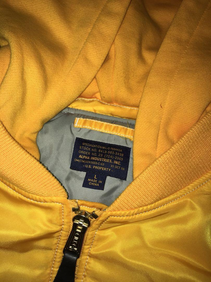 Alpha Industries Yellow Hooded Bomber