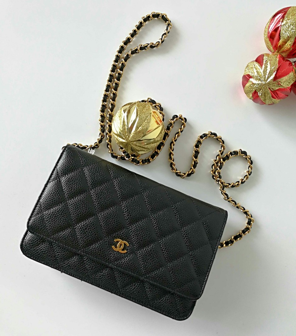 4dcd605384f3 Authentic Chanel Classic Wallet on Chain Black Caviar Gold Hardware ...