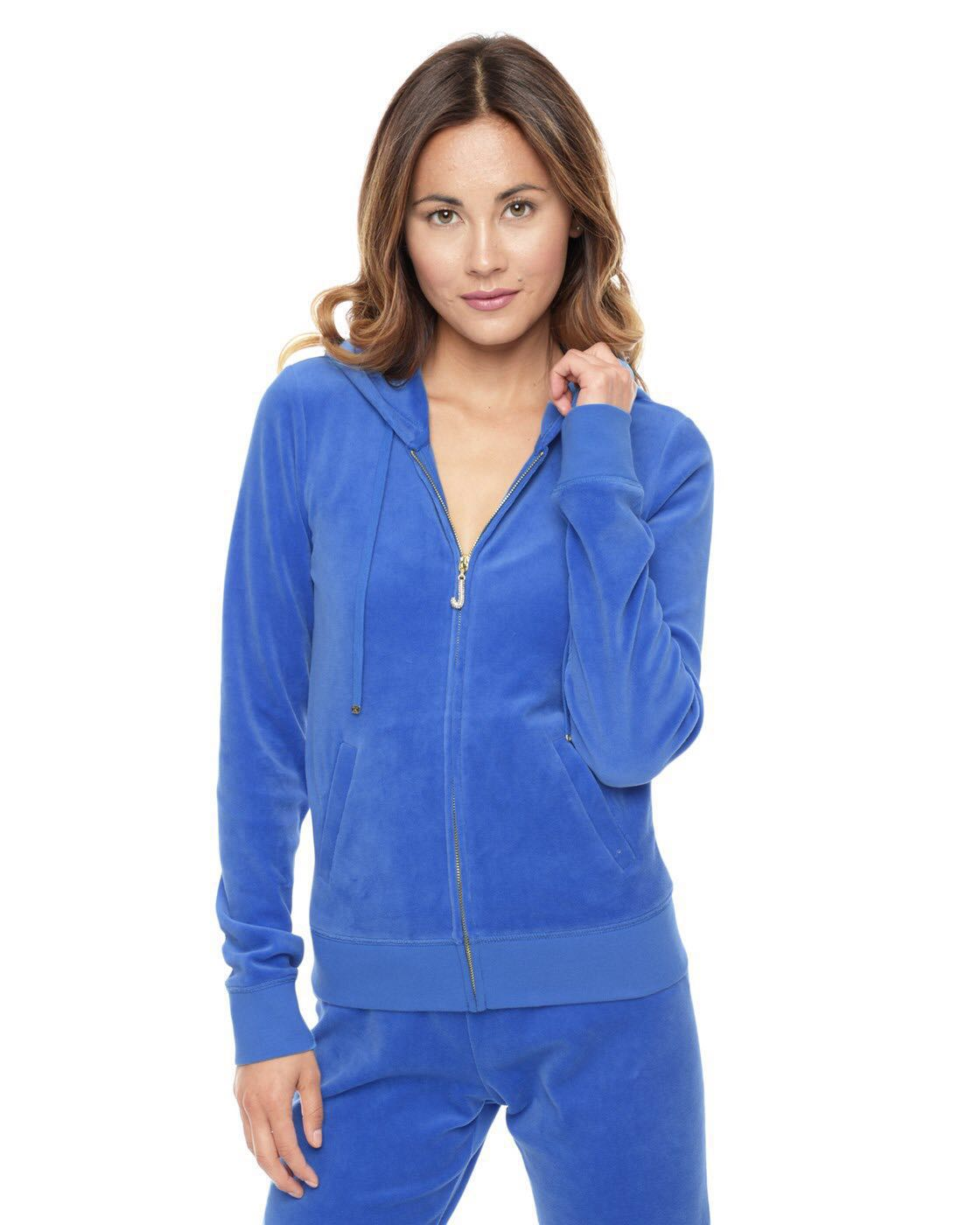 acfa2043 Authentic Juicy Couture J Bling Relaxed Velour Jacket with Hoodie ...