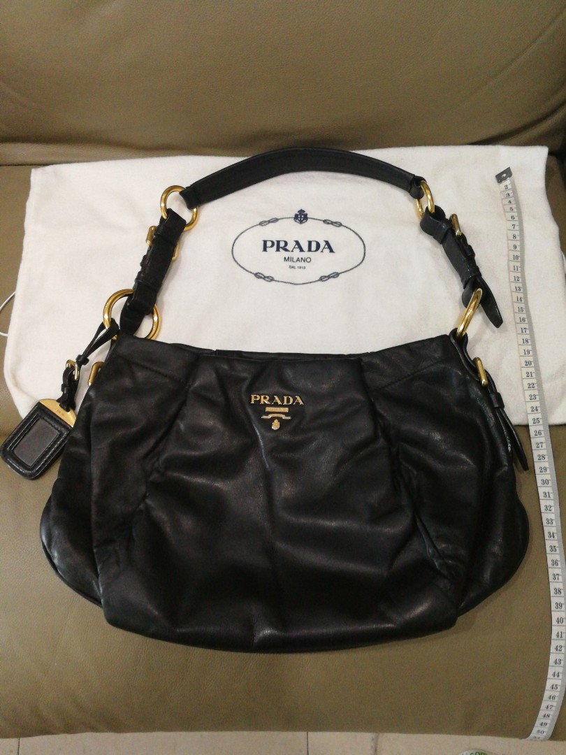 f89634d27875 Authentic Prada shoulder Bag black leather gold