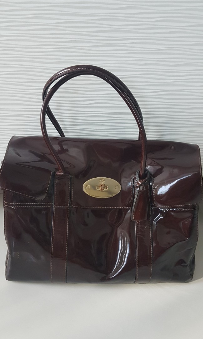 4497985315 Authentic Pre-owned Mulberry Burgundy Patent Bayswater Bag