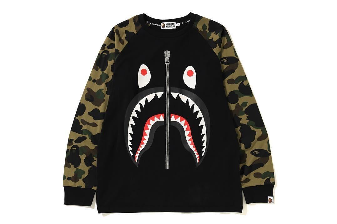 f850afcf Bape 1st Camo Shark L/S Tee, Men's Fashion, Clothes, Tops on Carousell