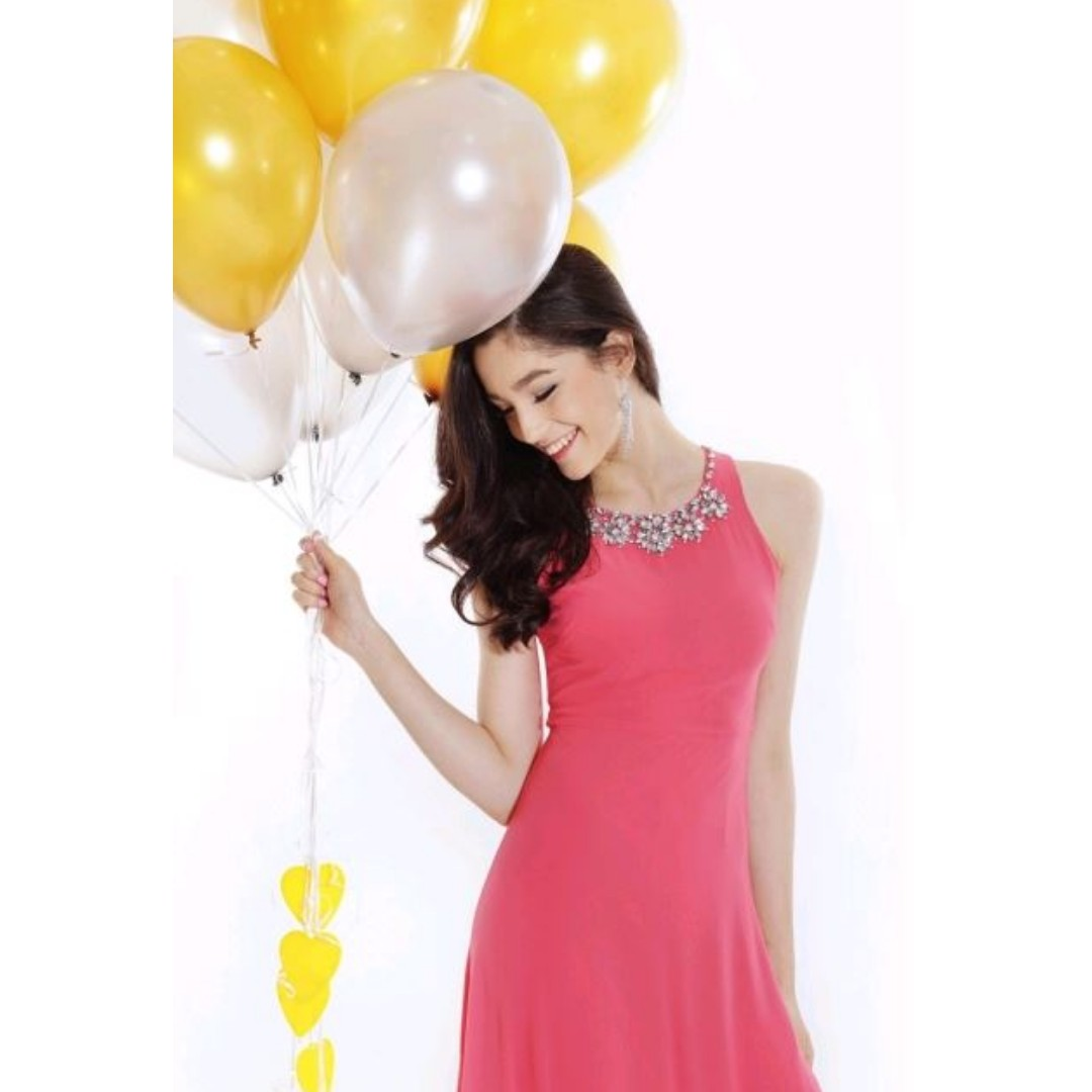 023b687abb BN TCL Living Coral Minimalistic Be Dazzled Maxi Prom / Dinner and ...