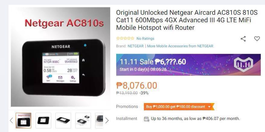 Brand New Netgear Aircard 810S (AC810s) Mobile WIFI Router Category 11  (Unlocked Version) - Complete Accessories and Box