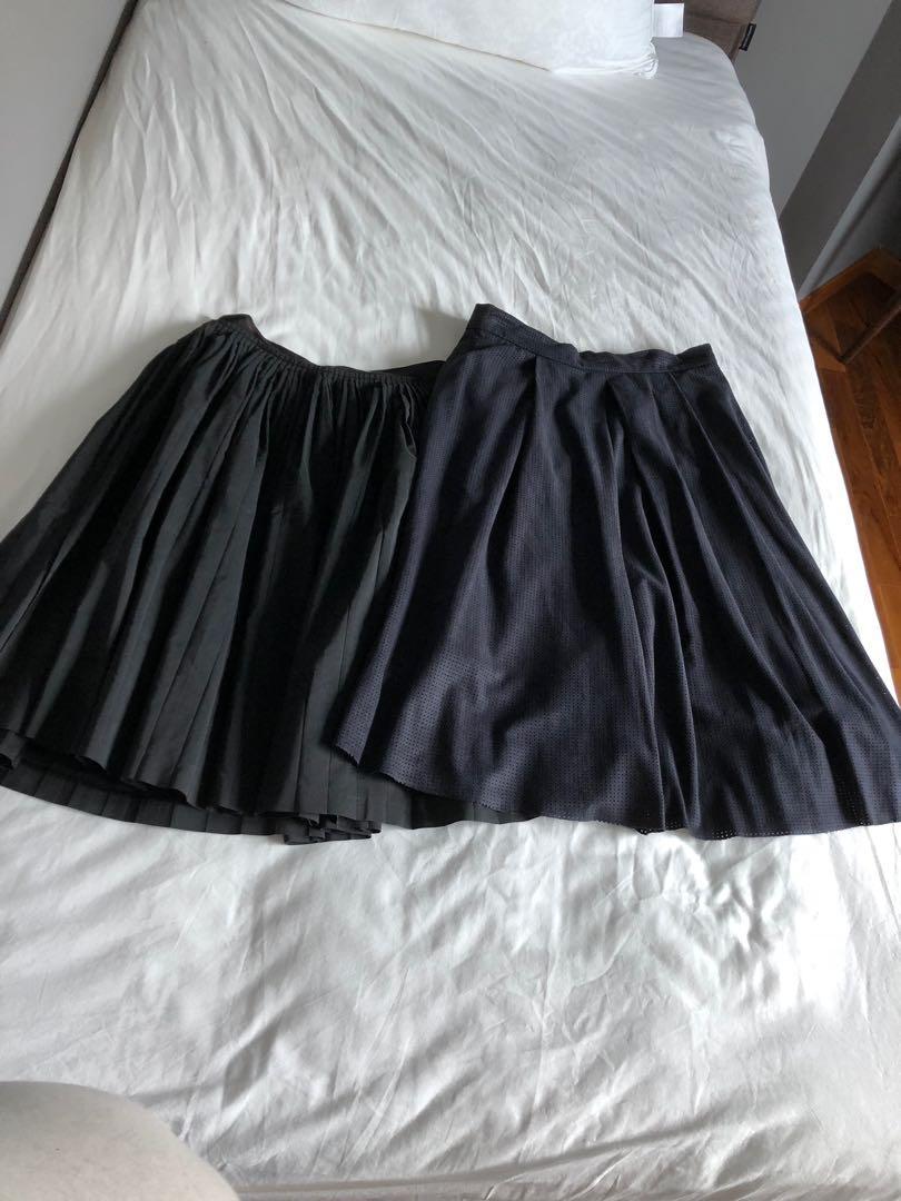 Bundle: Banana republic pleated flare skirt + Zara proferated skirt