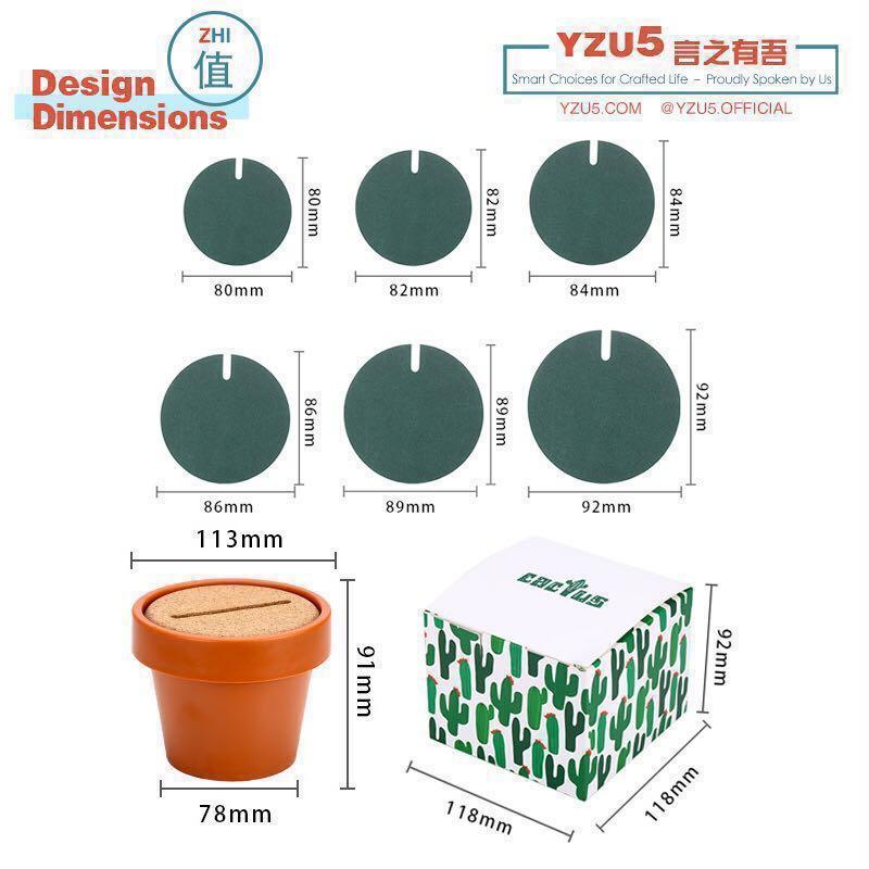 Cactus Creative DIY Design Coaster Waterproof EVA ABS Eco Friendly Mug Cup Mat Pad Storage Pot Set