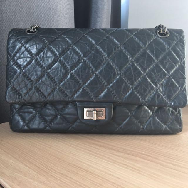b7469757878b Chanel 2.55 Medium Gunmetal Grey, Luxury, Bags & Wallets on Carousell