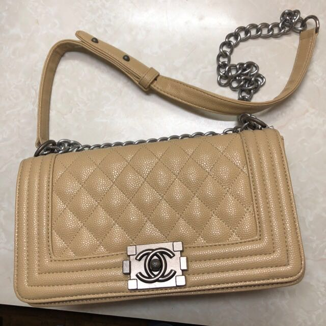 1aee30feaade Chanel Le Boy Caviar Beige Bag, Women's Fashion, Bags & Wallets on ...