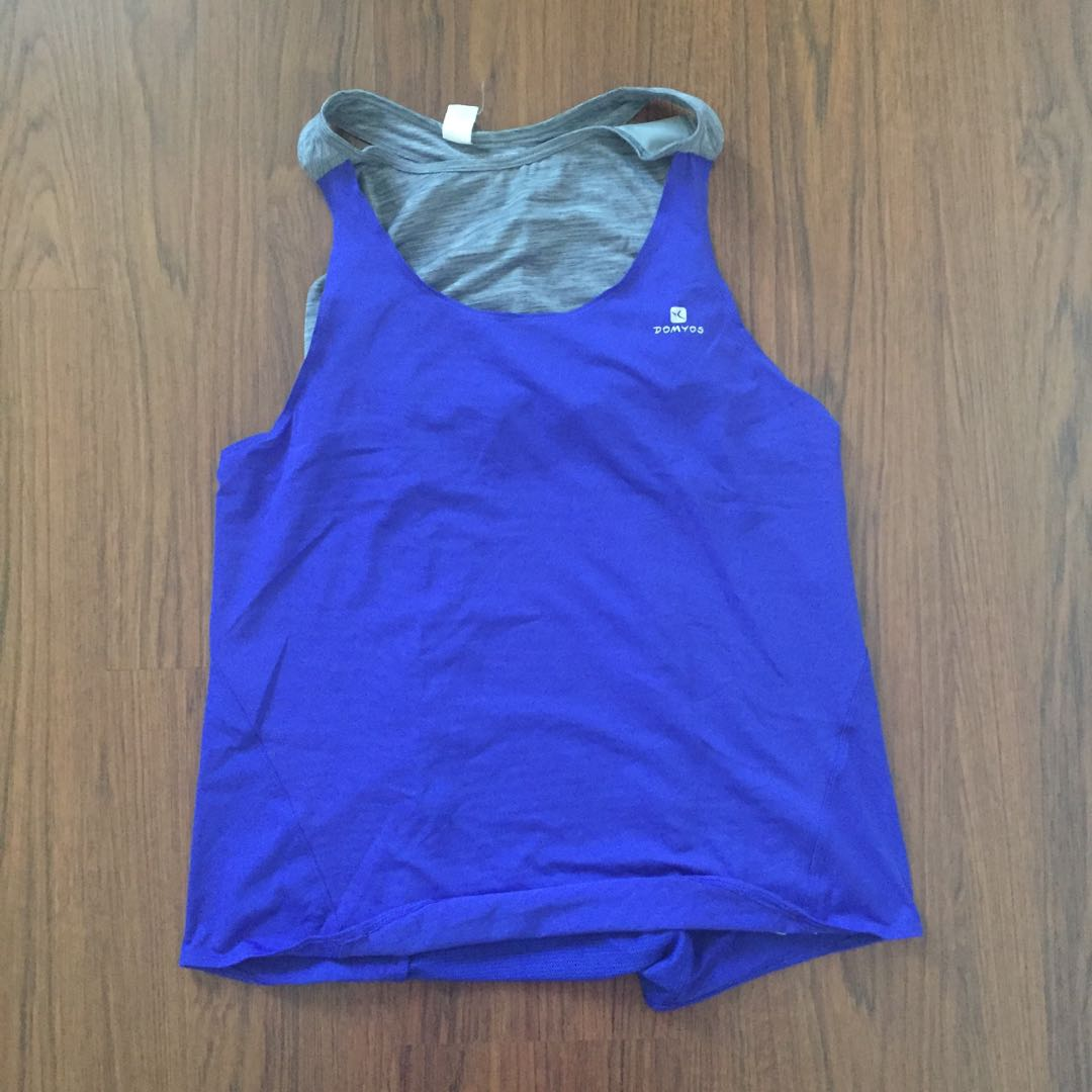 bad05039 Decathlon Domyos Energy Tank with Built in Bra top (Size L), Sports ...