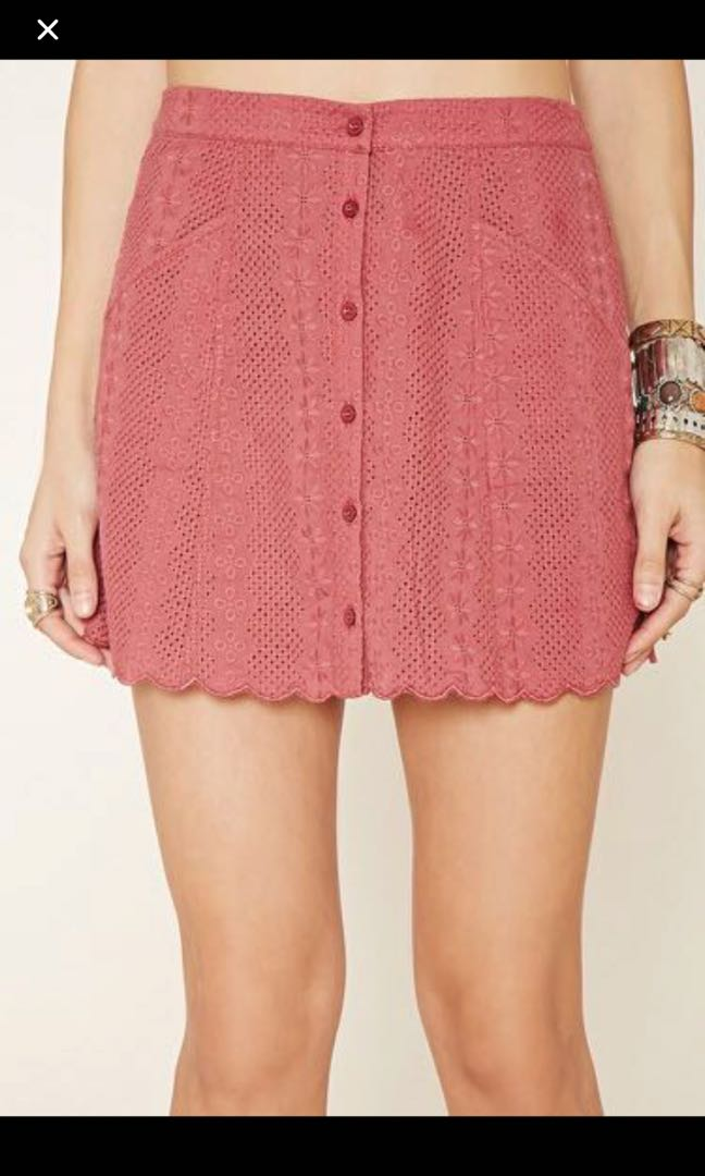 70250f94d Forever 21 dusty pink embroidered skirt, Women's Fashion, Clothes, Dresses  & Skirts on Carousell