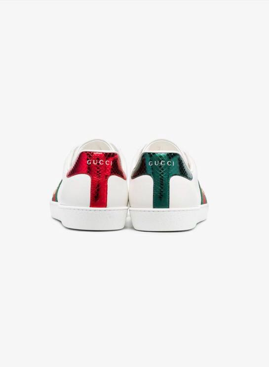80ce559a4852 Gucci Ace Watersnake-Trimmed Embroidered Leather Sneakers