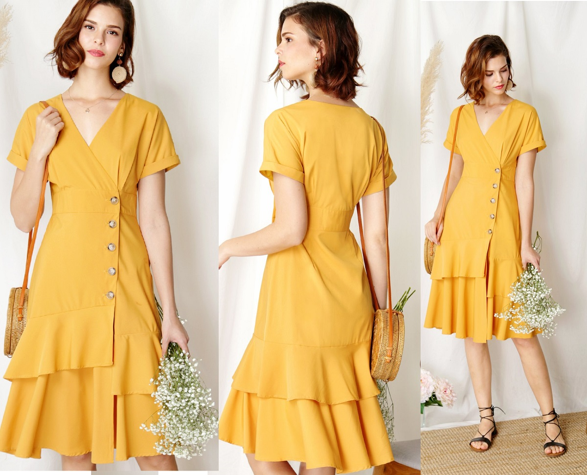 492635794d Harbour Tiered Hem Midi Dress (Marigold) M, Women's Fashion, Clothes ...