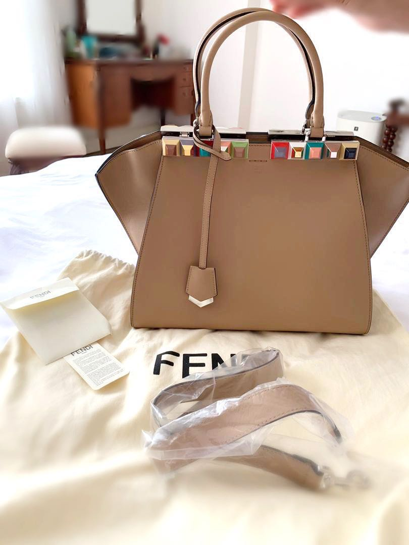 66d87b1ee8 Like New Fendi Medium 3 Jours Studded Bag