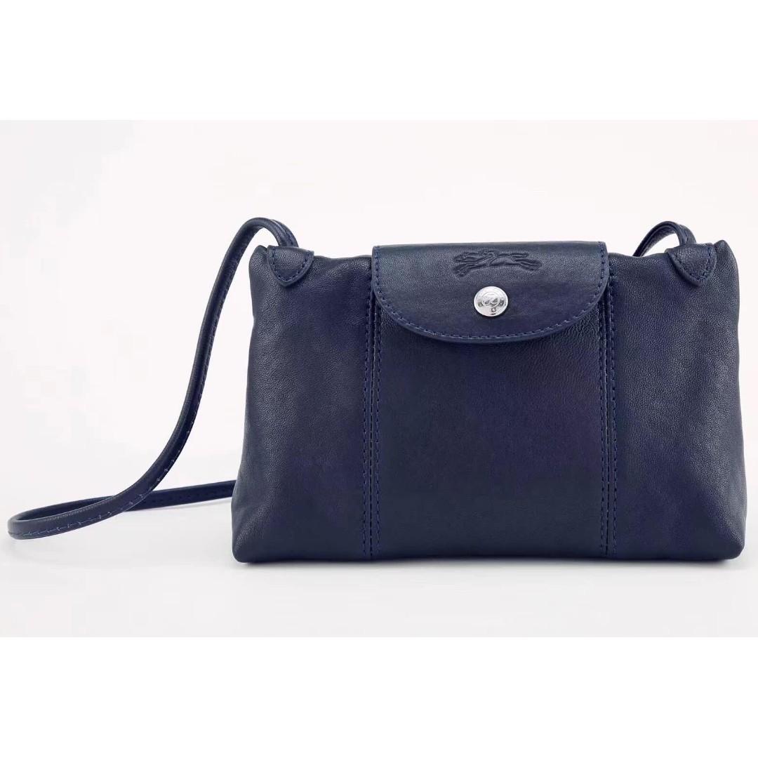 bd148c335a0 Longchamp Le Pliage Cuir Crossbody - Navy, Women s Fashion, Bags   Wallets,  Handbags on Carousell