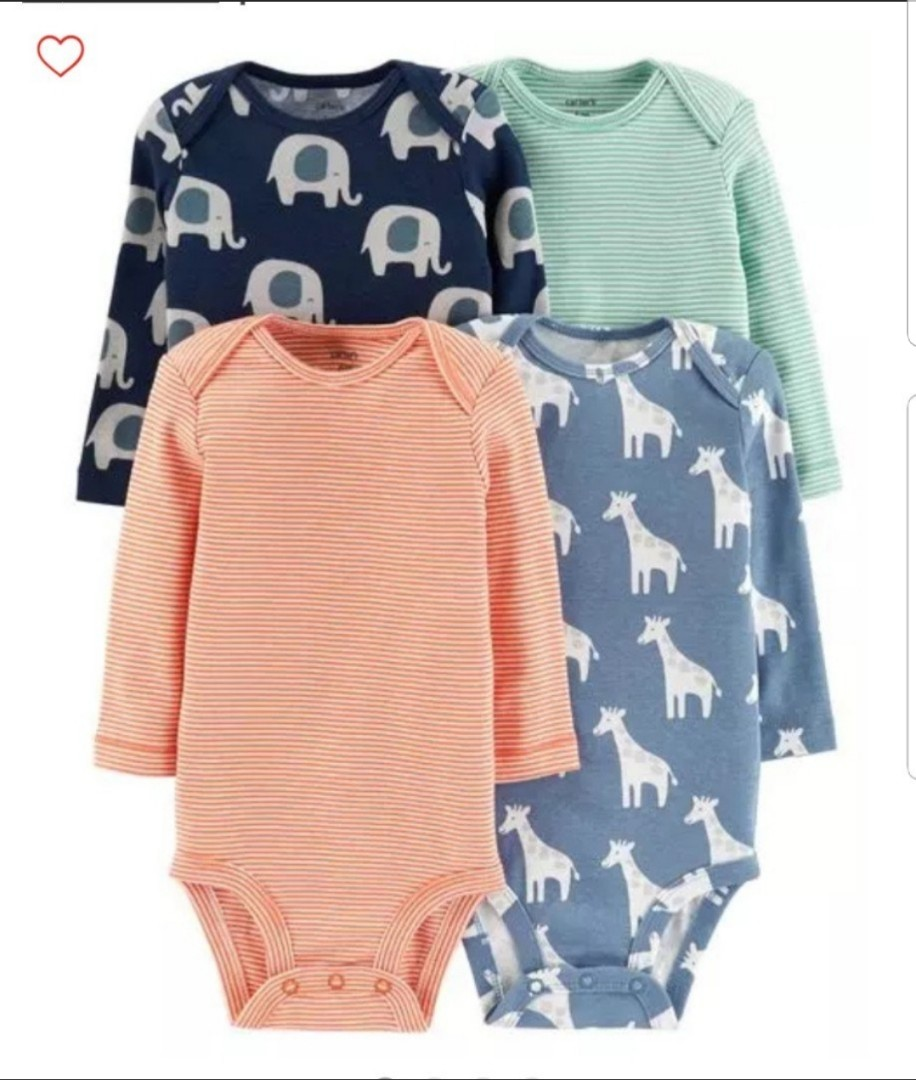 007865bc0f85 NB 6M  BN Carter s 4-Pack Long Sleeve Bodysuits For Baby Boy
