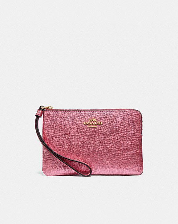 1ff8fd07d6 NEW Coach Corner Zip Wristlet in Metallic Antique Blush pink   Light ...