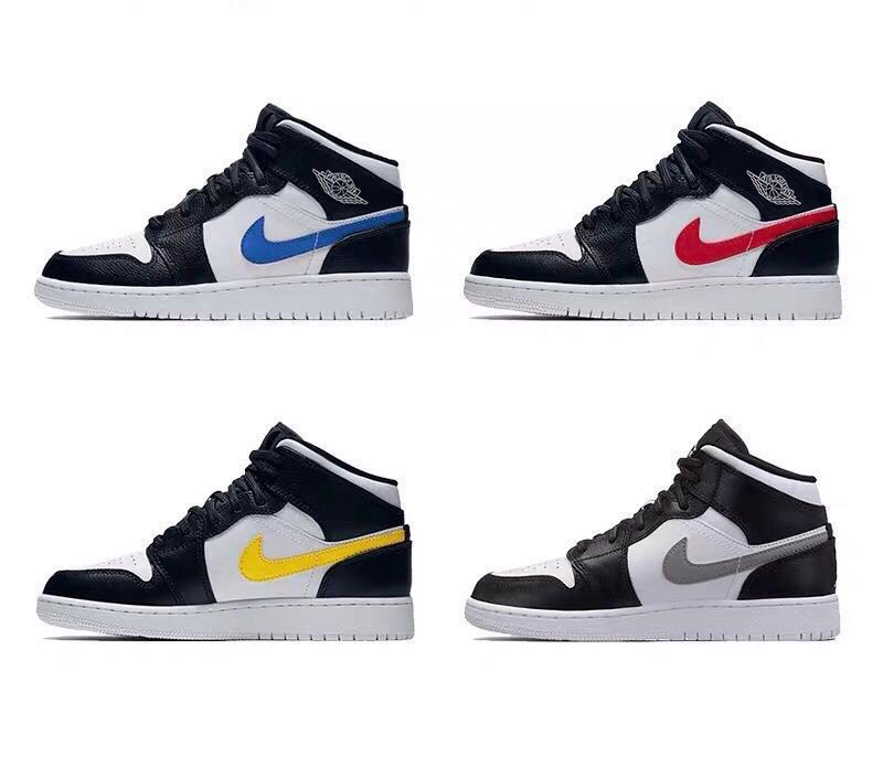 "89806dbf3994 Nike Air Jordan 1 Mid GS ""Multi Swoosh"" Black White-University Red ..."