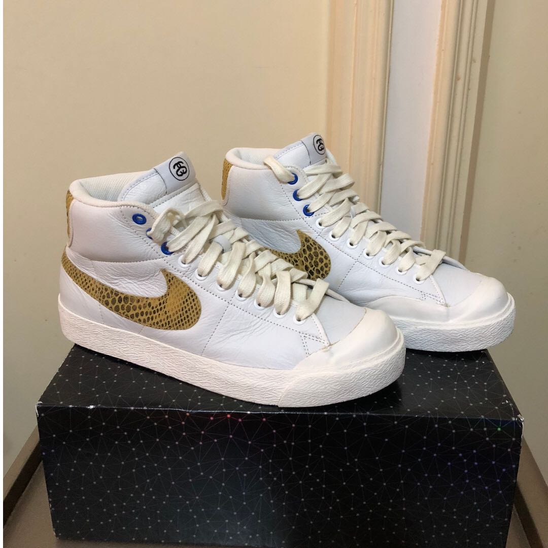 newest 06c11 6a87e NIKE STUSSY X ALL COURT MID 30th Anniversary White Shoes (Size  US9 ...