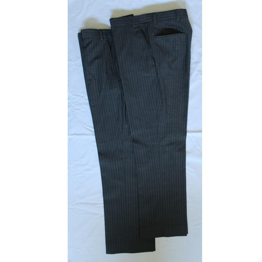 Pierre Cardin Men's Suit, Pinstripe Charcoal with 2 Trousers