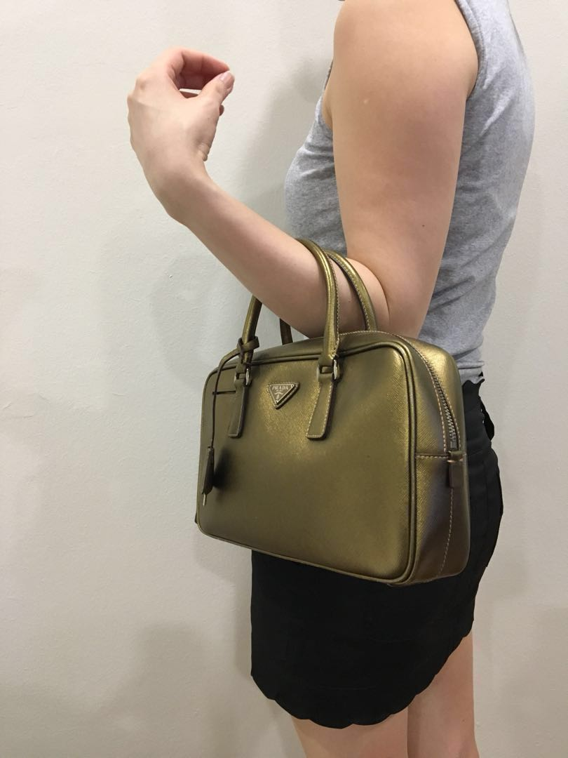 de17589598eb Prada saffiano top-handle handbag (gold), Women's Fashion, Bags ...