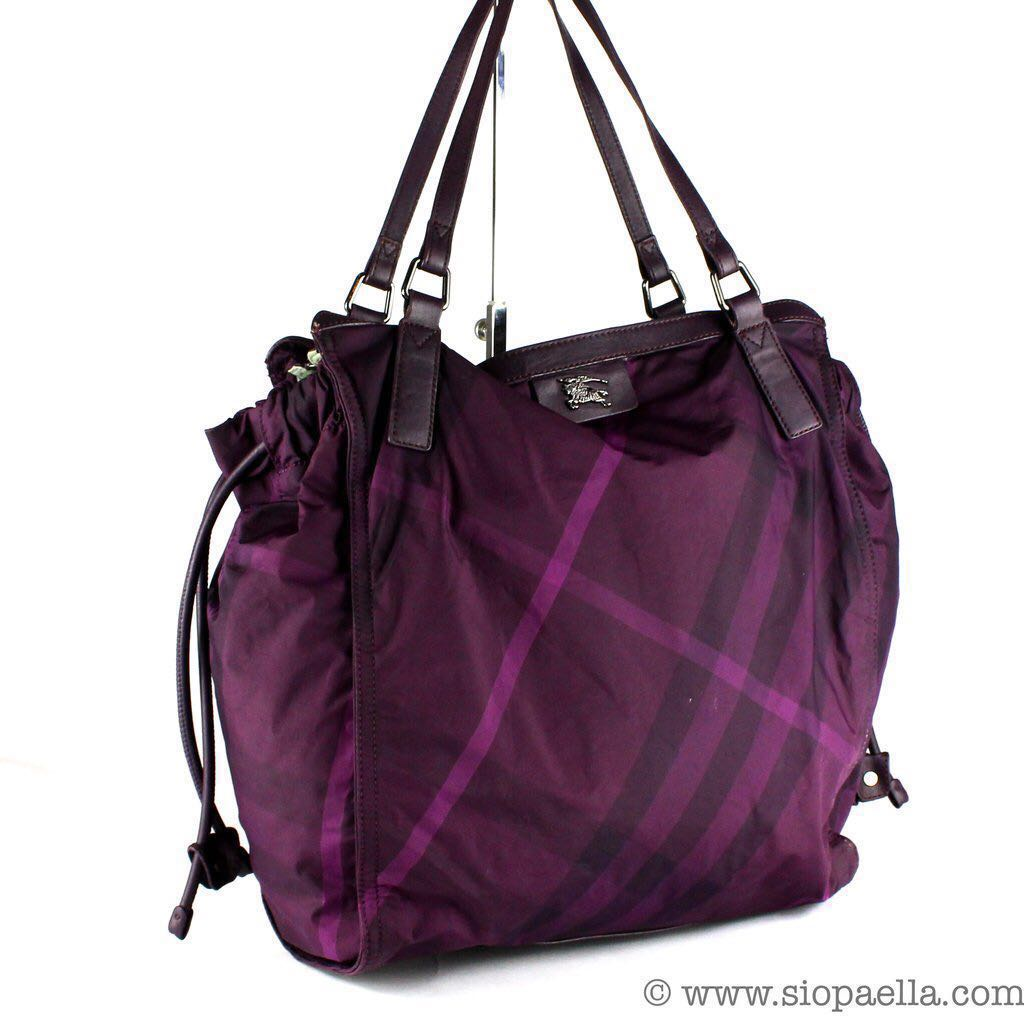 317ae67c125d Pre-loved Authentic Burberry Nylon Tote Bag in purple plum colour ...