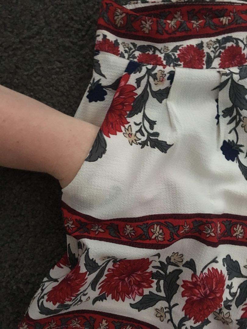 Red floral shorts