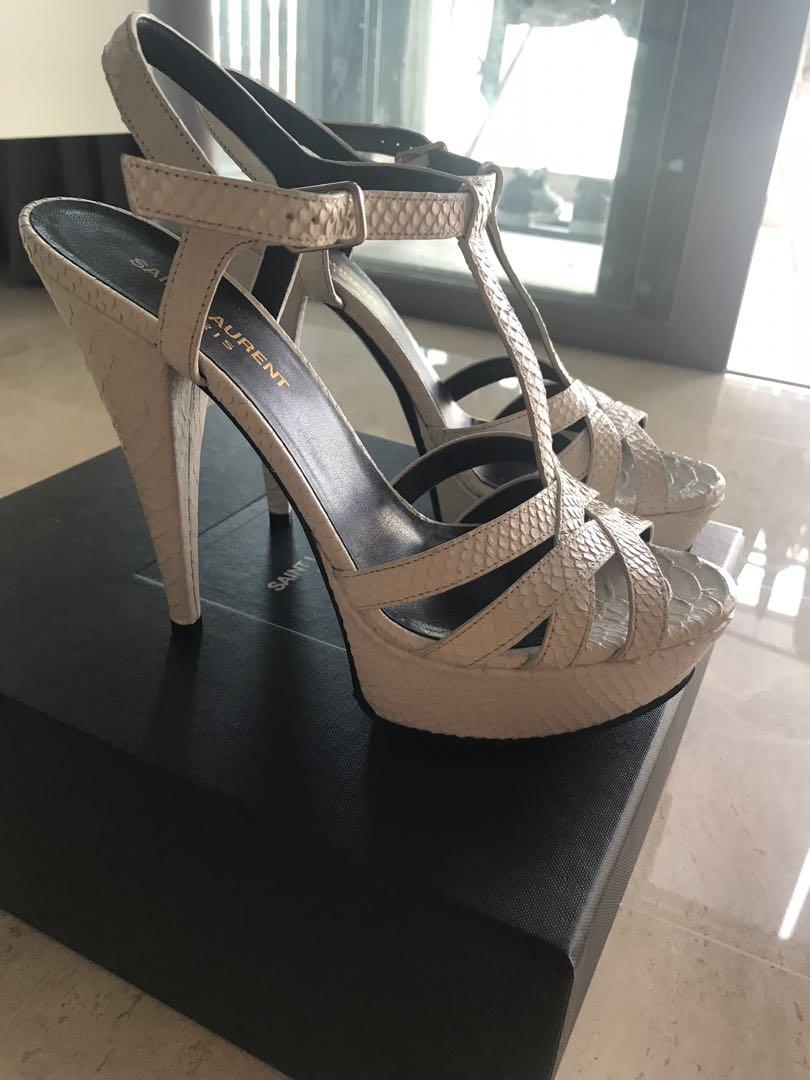12a45eed3daa Saint Lauren white snake skin print platform sandals, Women's Fashion, Shoes,  Heels on Carousell