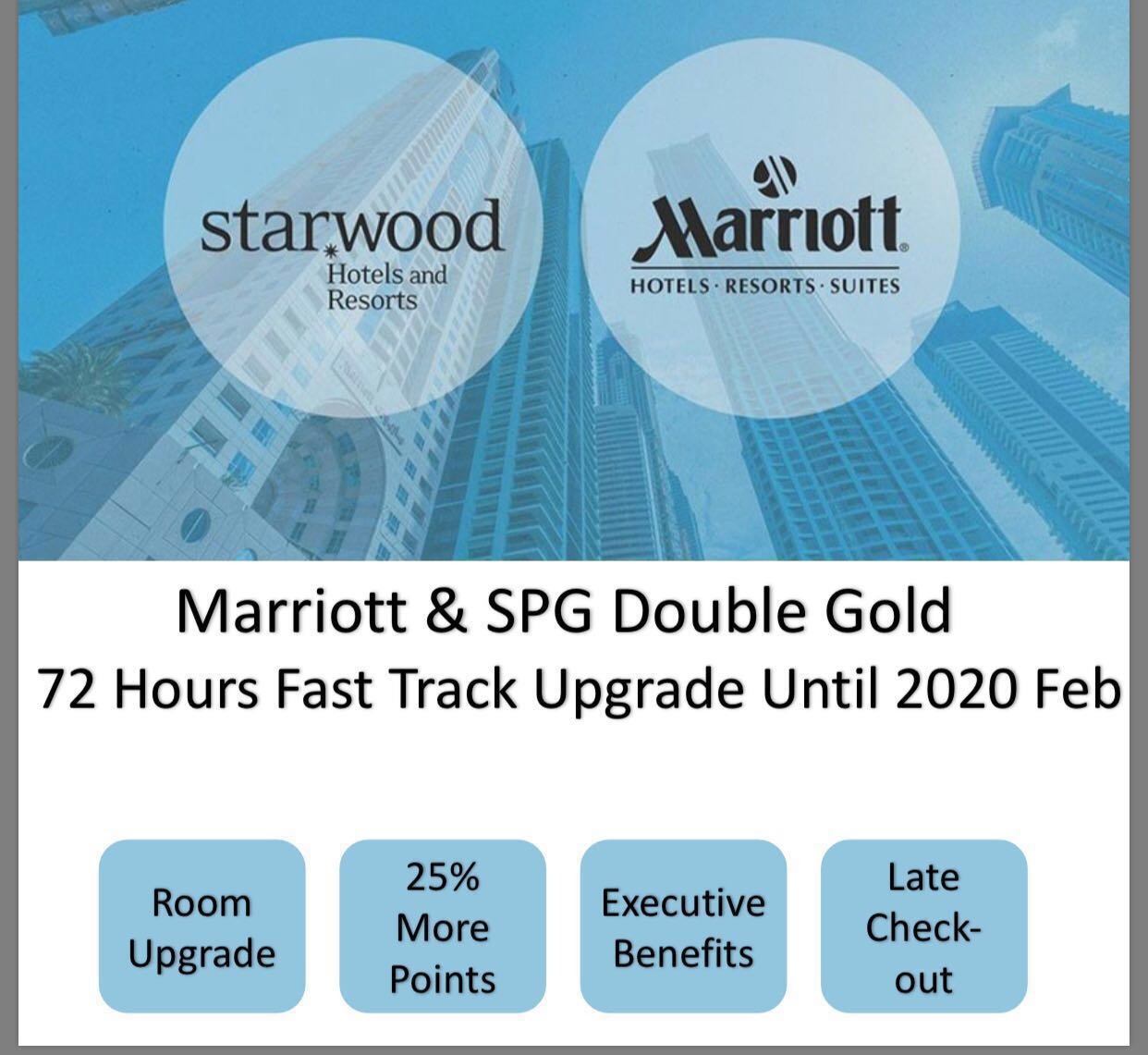 SPG & Mariott Double Gold Elite Status, 72 hours to achieve until 2020 Feb
