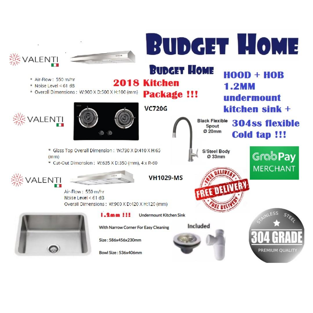 Monic 1.2mm kitchen sink + tap  with Valenti hood and hob(1.2mm coated kitchen sink bto kitchen package)