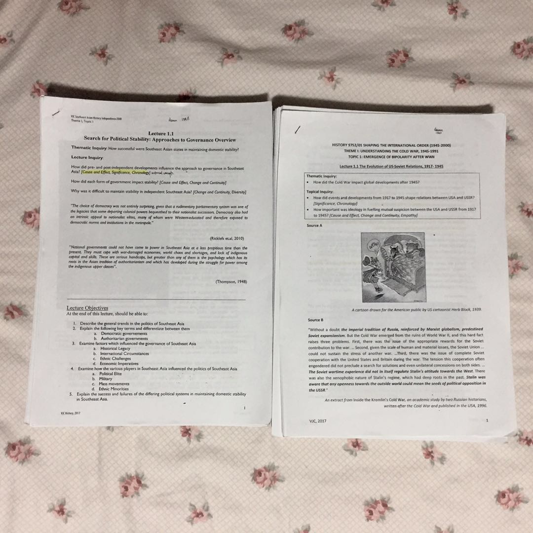 vjc h2 history lecture notes, Books & Stationery, Textbooks