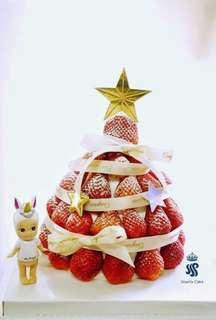 Christmas strawberry tower